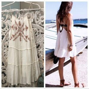 Ecote embroider lace up side white dress XS